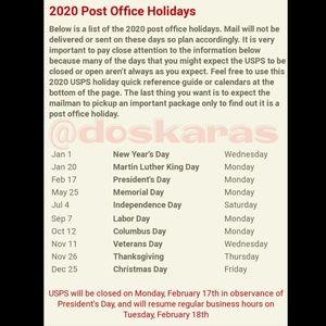 2020 Post Office Holidays